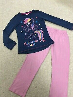 Girls Pyjama set: Rainbow Dash Top, F&F + Pink PJ Trousers / Age 7 years