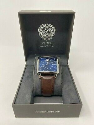 Vince Camuto VC/1095NVSV Men's 38mm Blue Dial Silver / Brown Leather Watch