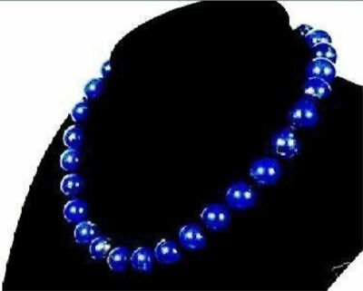 Stunning! 8mm Egyptian Lapis Lazuli Round Natural Gemstone Necklace 18' 'AAA