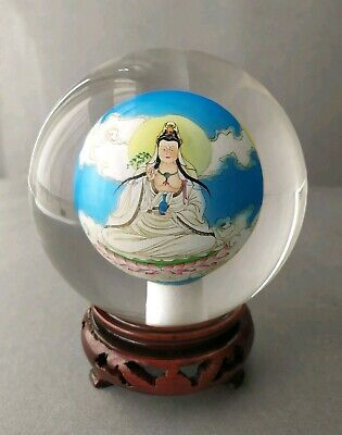 Large Chinese Reverse Hand Painted Glass Ball Sphere Globe with Stand/Box