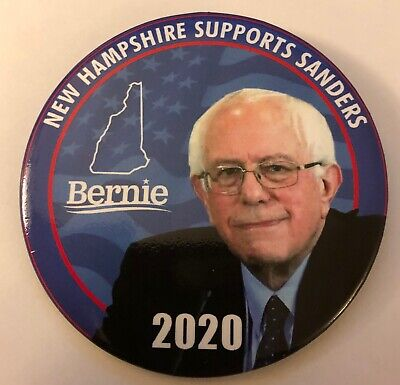 """3"""" New Hampshire Supports Bernie Sanders 2020 Presidential Campaign Pinback"""