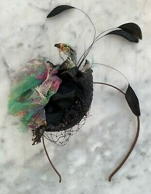Green & Black Hair Fascinator With Black Feathers - Cost £113