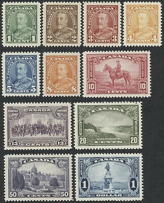 Canada #217-227 1935 George V Pictorial Issue, Mint OG VF NH