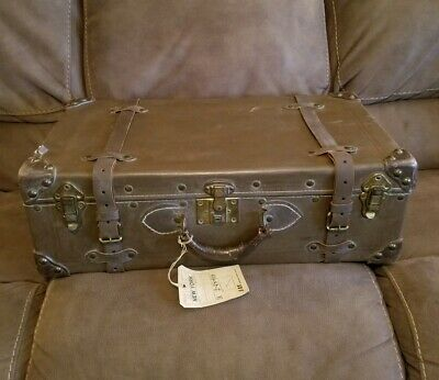 Vintage Excelsior Dark Brown Leather Strapped Carry Train Luggage Bag W/ SAS Tag