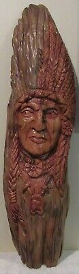 """Vintage Wood Art- Hand Carved Indian Chief 21"""""""
