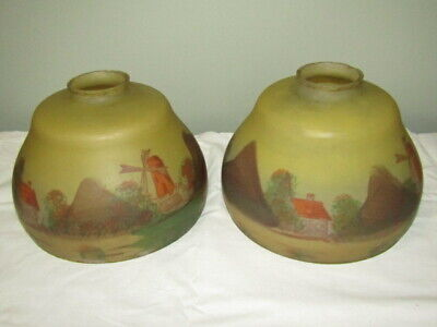 PAIR Antique Reverse Painted Lamp Shades Landscape With Windmill