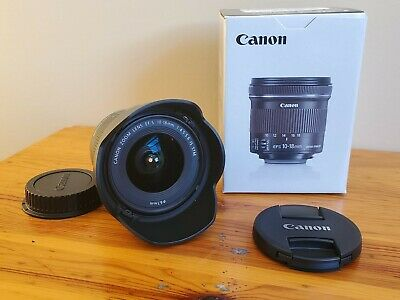 Used MINT Canon EF-S 10-18mm F/4.5-5.6 IS STM Wide Angle Lens w Hood EW-73C