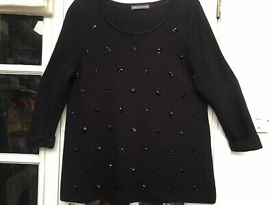 Marks & Spencer STUNNING Size 18 Black Beaded TWINKLY Jumper EXCELLENT CONDITION