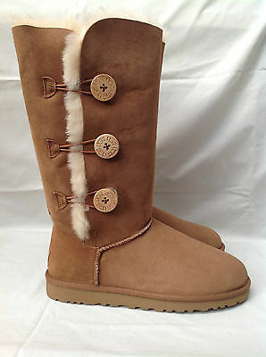 BNIB Authentic UGG Australia Kid's Triplet Bailey Button Boots (13) Chestnut
