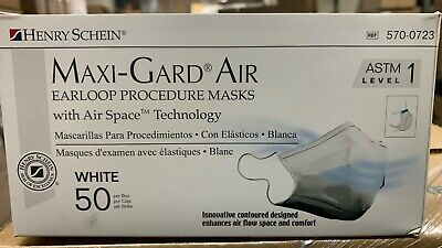 Disposable Face Mask Henry Schein Medical Surgical  Maxi-Gard Air Level 1 50 ct