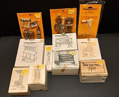 VTG Lot HELLO DOLLY, Chadwick Dollhouse Wooden FURNITURE & Accessories Open Box