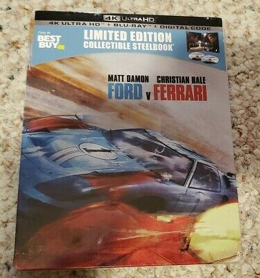 Ford vs Ferrari SteelBook (4K UHD+Blu-ray+Digital) *Factory Sealed