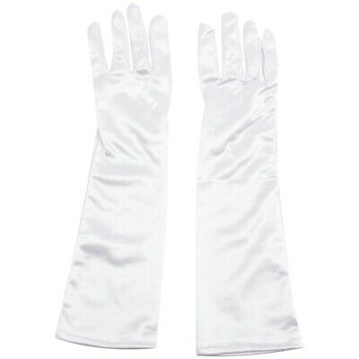 White Ladies Long Satin Evening Party Gloves Fancy Dress Wedding Prom Cocktail L