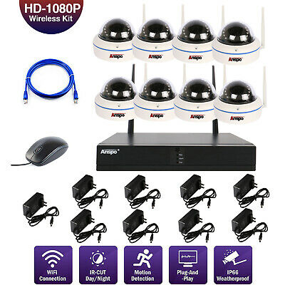4/8 CH 1080P HD Wireless WIFI Dome CCTV Home Camera Security NVR System w/ HDD