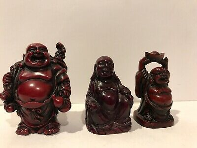 """Vtg  Chinese Carved Cinnabar ? Lacquer Buddha Figurine Lot Of 3 (2- 2 1/2"""""""