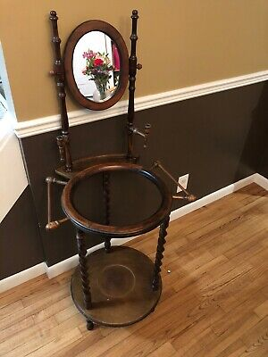 Antique Vintage Wash Basin Stand 1920 Country Oak Twist Legs - Great Condition