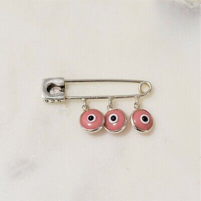 Evil Eye Sterling Silver Safety Pink Protection Luck Pin Brooch for Baby