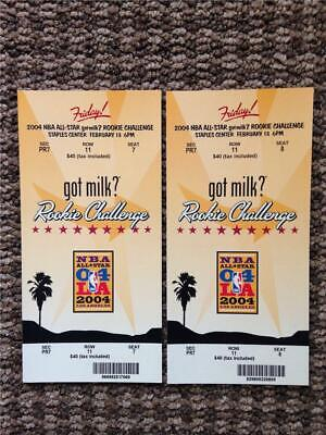 (2) 2004 NBA All-Star Rookie Challenge Full Tickets Staples-Lebron James Rookie