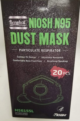 Benehal N95 NIOSH Respirator Mask With Exhale Valve QTY - 20 Masks 1-Box