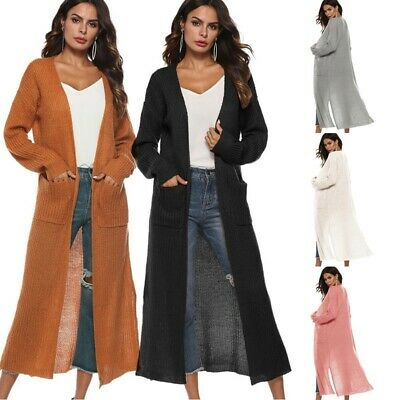 Korean Outerwear Warm Coat Knitted Cardigan Women Long Sleeve Autumn Solid Loose