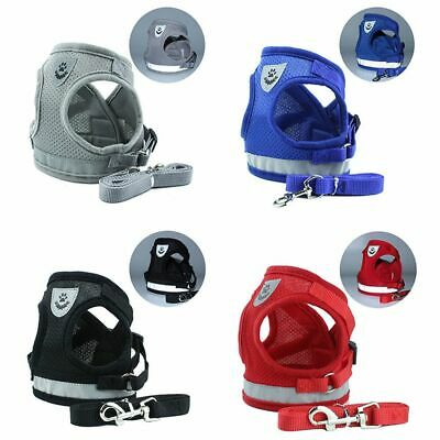 Small Dog Cat Harness and Walking Leads Set Pet Puppy Breathable Mesh Vest UK