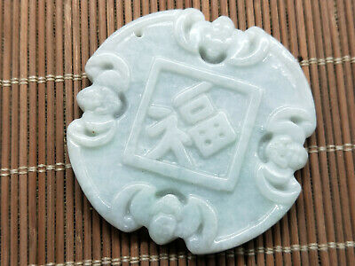100% Delicate Chinese natural Hand-carved Jadeite jade pendant Wufu