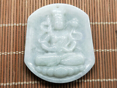 100% Delicate Chinese natural Hand-carved Myanmar Jadeite Guanyin pendant