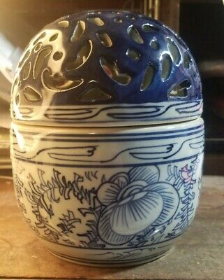 Vtg Cobalt Blue White Japanese Chinese Porcelain Ginger Jar With Cutouts On Lid