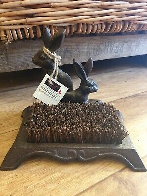 Cast Iron Boot Brush Boot Cleaner Door Step Country Hares Rustic Brown Gift