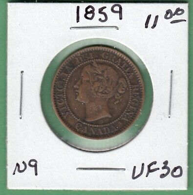 1859 Canadian Large One Cent Coin - Near 9 - VF-30