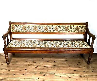 Antique Victorian Large Solid Oak Church Chapel Pew Bench With Upholstered Seat