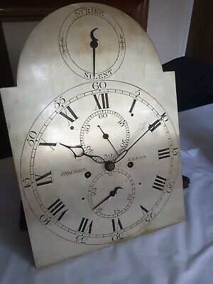 long case clock movement very good 5 piller movement and dial 16.5 x 12in