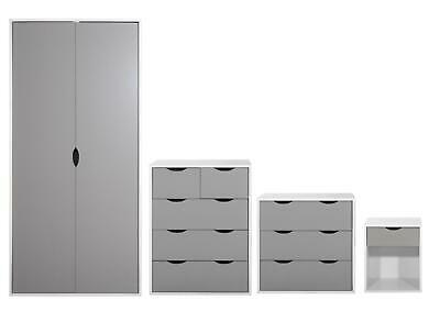 4 Piece Bedroom Furniture Set Wardrobe Chest Drawers Bedside White & Grey