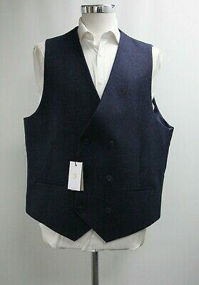 Men's Farah Double Breasted Waistcoat in Checked Navy Blue (48R)..Ref: 7311