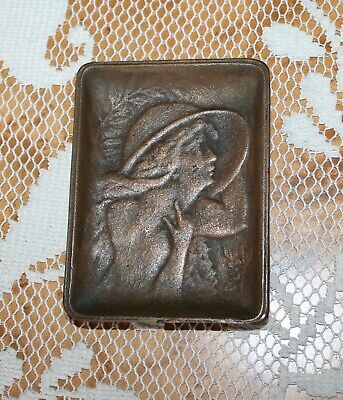 Antique Art Nouveau Lady Antique Brass Pin Calling Card Tip Tray Woman Hat Old