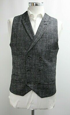 Men's Unbranded Double Breasted Waistcoat in Checked Black (38R).. Ref: 7317