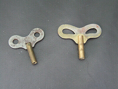 2 x Antique Vintage Winding Key For Mantle Clock etc one with nice barrel detail