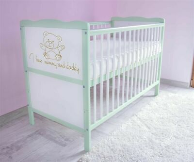 Wooden Baby Cot Bed & Mattress ✔ Converts to Toddler Bed  size 120x60 - I love