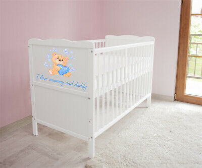 Wooden Baby Cot Bed & Foam Mattress ✔ Teething rails ✔ Converts to Junior Bed