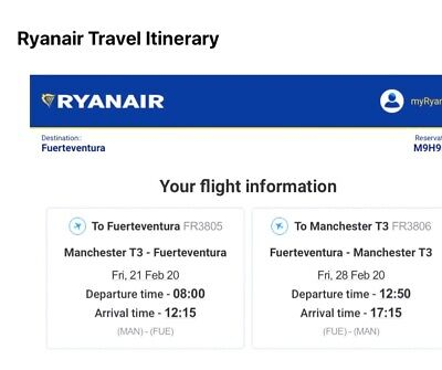 Two return flights, Manchester to  fuertventura  21.2.20 - 28.2.20