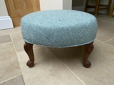 Reupholstered Antique Round Footstool - Abraham Moon Wool Fabric