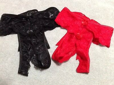 3X RED Lace Fredericks Of Hollywood CROTCHLESS G-String Plus Size Valentine New