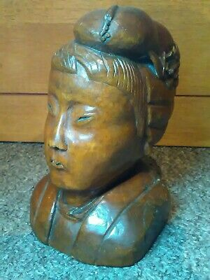 Antique Chinese Hand Carved Wooden Oriental Woman Bust Statue Figure Ornament
