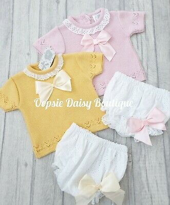 Baby Girls Pink /& Dusky Pink Spanish Knitted Ribbon Jam Suits ☆