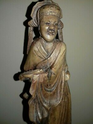 "Antique 8.3"" Chinese Wood Wooden Hand Carved Woman Elder Statue Figure Ornament"