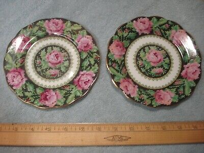 """Vintage Royal Albert NEEDLE POINT Set of 4 BREAD & BUTTER 6-3/8"""" Side Plate NICE"""