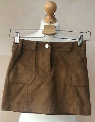 Lovely Soft Faux Suede Skirt Brown Lined Age 9  134cm Next