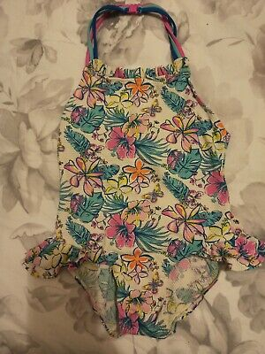 Monsoon Girls Halter neck frilled lil floral Bright Swimming Costume Age 7 Years