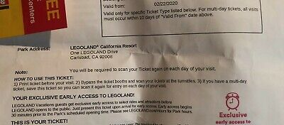 LEGOLAND 1 DAY RESORT HOPPER ADMISSION Ticket California Valid Until 3/02/20