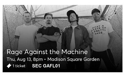 1 Ticket to Rage Against The Machine 8/13/20 New York, NY MSG FLOOR